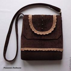 """Купить Сумка женская """"Какао"""" через плечо - коричневый, сумка с клапаном, сумка цвета какао"""