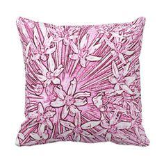 Floral Starburst Sketch Design Throw Pillow