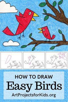 Learn how to draw Easy Birds with this fun and easy art project for kids. Great for Mother's Day cards! Simple step by step tutorial available. Art Education Projects, Easy Art Projects, Drawing Projects, Drawing Lessons, Projects For Kids, Drawing Tips, Art Drawings For Kids, Drawing For Kids, Easy Drawings