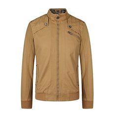 Wantdo Men's Pea Coat Stand Collar Windproof Jacket Overcoat Grey Small Wool Overcoat, Thing 1, Coat Stands, Pea Coat, Wool Blend, Zip, Grey, Jackets, Fashion