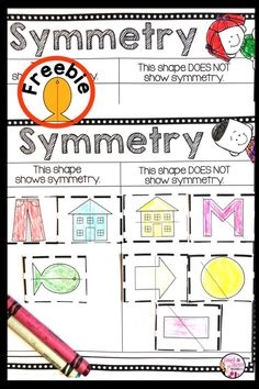 Introduce symmetry with these FREE worksheet activities.  Perfect for Kindergarten Math and First Grade Math. #1stgrademath #kindergartenmath #geometry