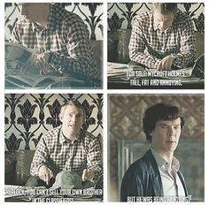 For sale: Mycroft Holmes. Tall, fat and annoying. John: Sherlock, you can't sell your own brother in the classifies. Sherlock: But he was being annoying. Sherlock Fandom, Sherlock John, Funny Sherlock, Sherlock Cast, Sherlock Quotes, Supernatural, Mycroft Holmes, Moriarty, Benedict And Martin