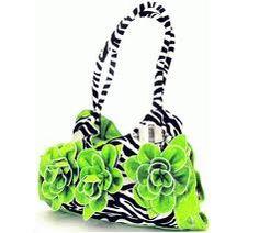 green flower Zebra purse