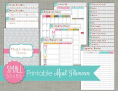 """Meal & Recipe Planner {Printable} Set - Sized Small 5.5 x 8.5"""" PDF - Signature Design"""