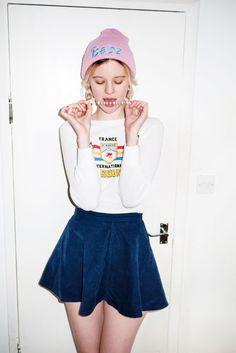 Velvet blue skirt.
