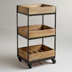 Our Wooden Gavin Rolling Cart features a crate look and casters so that you can easily move it from room to room. A refreshing way to organize a small home office or store bathroom essentials, you won't be able to resist this decorative storage solution. Diy Kitchen, Kitchen Storage, Kitchen Carts, Bathroom Storage, Kitchen Small, Wood Storage, Storage Boxes, Bathroom Cart, Thread Storage