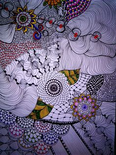 Zentangle- flowers-colours