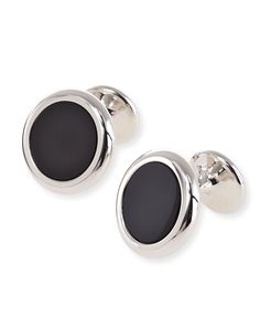 Round Onyx Screw Sterling Silver CufflinksJan Leslie Officiel Rabais Vente À Chaud À Vendre commercialisable Jili8