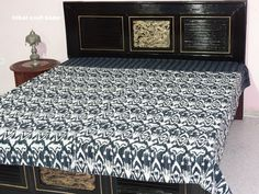 King Size Black Ikat Kantha Quilt Ikat Kantha by tribalcrafthome, $49.00