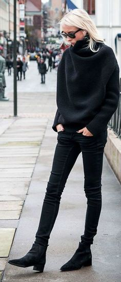 Black jumper, black jeans -always well dressed!