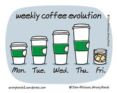 ! however, my coffee cups would be in the reverse order….lol…the largest being monday…still like friday's where it is