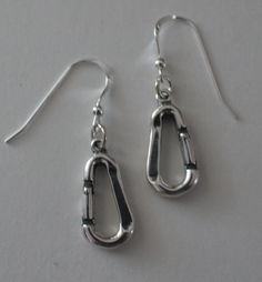 Sterling Silver 3d CARABINER Earrings Camping by ShymaliLlamas