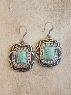 Lunation Drop Earrings // Sparkle + Turquoise