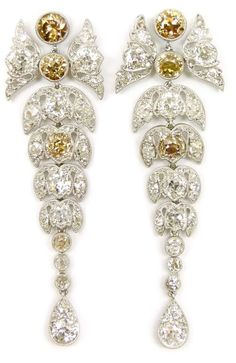 Lovely leafy diamond and colored diamond earrings, antique.