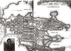 Map of Sydney 1823 Note that Bridge Street was the crossing for the stream - Circular Quay and it's environs are built over the old Tank Stream. Sydney Map, Sydney City, Sydney Harbour Bridge, Vintage Maps, Vintage Posters, Malayan Emergency, The Rocks Sydney, First Fleet, Historical Pictures
