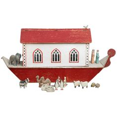 Oversize Carved and Painted Noah's Ark | From a unique collection of antique and modern toys at http://www.1stdibs.com/furniture/folk-art/toys/