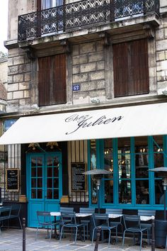 Paris Cafe in the Marais- Chez Julien - Paris Photography, Autumn, Paris Photography, Blue Paris Decor