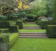 Terracing a sloped garden. Modern Landscape Design, Landscape Plans, Garden Landscape Design, Modern Landscaping, Garden Landscaping, Garden Stairs, Terrace Garden, Sloped Garden, Classic Garden