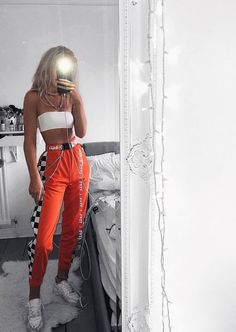 checkered orange pants