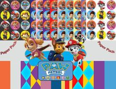 Paw Patrol Image, Paw Patrol Inspired Digital Paper Pack - 30 Papers - Size 12x12 - Printable Paper- Digital Scrapbooking - CLIPART INCLUDED -Instant Download, Paw Patrol Cutout, Paw Patrol Template, Cartoon Image,  Set Includes: 3 PNG files with Transparent Background (the pictures you see in the first frame but without the sample papers background) and 30 JPG files on patterned background as pictured above.  13 Paw Patrol Theme clipart pages and 17 papers in the Paw Patrol color ..