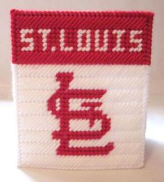 St Louis Cardinals tissue box cover in plastic canvas PATTERN ONLY by AuntCC on Zibbet