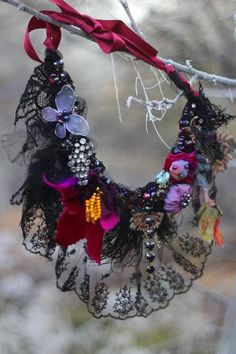 Your place to buy and sell all things handmade Fiber Art Jewelry, Mixed Media Jewelry, Textile Jewelry, Fabric Jewelry, Fabric Beads, Felt Fabric, Fabric Necklace, Premier Designs Jewelry, Jewelry Crafts