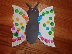 Butterfly - Decorate the plate. Cut out a body and antennae. Cut plate in half in a back and forth pattern. Glue on all parts to the body.