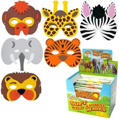 Animal masks for any jungle themed party available from Party Bits To Go.
