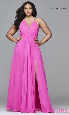 c2f304582f6 Image of plus-size v-neck halter long Faviana prom dress. Style