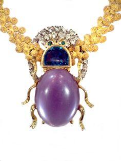 Indian Coiled Links, Art Deco Rhinestone Frame, Jumbo mock Amethyst and Emerald Scarab. Art Decor, Emerald, Amethyst, Jewelry Design, Amethysts, Emeralds