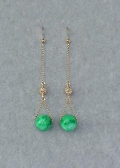 Jade 14 K Gold Filled Long Earrings | Saruchi R Jewellery