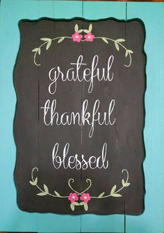 Items similar to Reclaimed Pallet Wood Chalkboard Hand Painted Sign- Turquiose Framed- Grateful Thankful Blessed on Etsy Wood Pallet Signs, Wood Pallets, Wooden Signs, Thankful And Blessed, Grateful, Chalkboard Background, Hand Painted Signs, Pink Flowers, Recycling