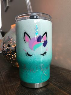 Diy Tumblers, Custom Tumblers, Glitter Tumblers, Vinyl Projects, Diy Craft Projects, Diy Crafts, Kids Tumbler, Tumbler Cups, Unicorn Cups