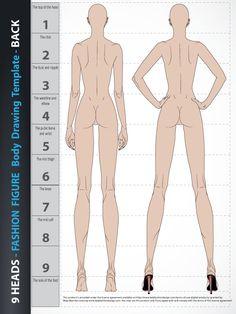9 Heads - Fashion Figure Drawing Template Super awkward diagram