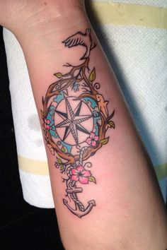 I like the old fashion style of this compass tattoo