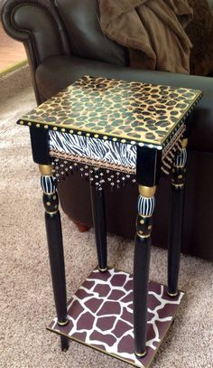 Whimsical Painted Furniture, Whimsical Painted Table, Painted Leopard Table // African Style Table // Whimsical Painted Furniture home decor - декупаж идеи - Whimsical Painted Furniture, Painted Chairs, Hand Painted Furniture, Funky Furniture, Paint Furniture, Repurposed Furniture, Furniture Makeover, Furniture Design, Vintage Furniture