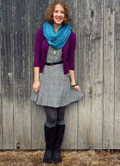 Country Girl, City Fashion: Check out my blog! #cardigan #scarf #gray #purple #blue #black