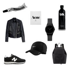 """""""Black & White"""" by maikeirving on Polyvore featuring New Balance, Balmain, Mansur Gavriel and NIKE"""