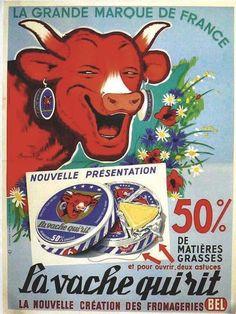 Affiche ancienne d'après Benjamin Rabier pour La Vache qui rit