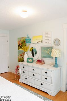 White Distressed Chalky Paint Dresser Makeover at The Happy Distressed White Bedroom Furniture, White Distressed Dresser, Rustic Painted Furniture, Paint Furniture, Diy Dresser Makeover, Furniture Makeover, Chalky Paint, Master Bedroom Makeover, Country Chic