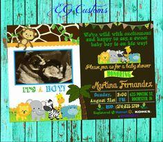 Safari Baby Shower Invitation Gender Neutral Burlap by EGCustoms