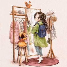 외출 준비 (Getting ready to go out) (Full Ver. grafolio.com/works/306354)    #일러스트 #일러스트레이션 #옷 #옷걸이 #미소 #소녀 #외출준비 #거울  #illust #illustration #drawing #sketch #paint #girl #smile