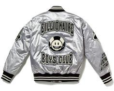 satin varsity jacket by billionaire-boys-club Motorcycle Jacket, Bomber Jacket, Billionaire Boys Club, Mens Fashion, Fashion Outfits, Vintage Jacket, Shirt Designs, Sweatpants, T Shirt