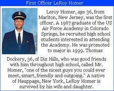 "Leroy Hunter- 36, was First Officer on United Airlines #flight93. His mother said that he was born to fly, even as a toddler, he'd try to talk his parents into staying longer on trips that they made to the air port, so he could watch the planes taking off and landing. ""He learned how to fly before he learned how to drive,"" his mother said. #project2996 #9/11"