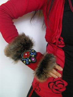 Etsy - Shop for handmade, vintage, custom, and unique gifts for everyone Beaded Moccasins, Baby Moccasins, Unisex Christmas Gifts, Leather Gauntlet, Craft Fur, Fur Purse, Beadwork Designs, Mittens Pattern, Sewing Material