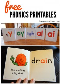 These free phonics printables will help your child practice reading ai and ay, igh, and -y words.  My early reader loves these fun and colorful phonics books!