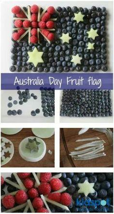 Australia Day fruit flag - as a pavlova? Australian Party, Australian Recipes, Australia Day Celebrations, Aus Day, Aussie Food, Anzac Day, Pavlova, Food Presentation, Aussies