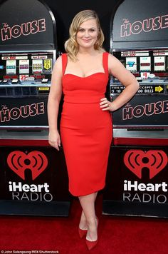Lady in red:Daring to impress, the Parks & Rec alum made all the ladies jealous as she rocked a body hugging bright red gown