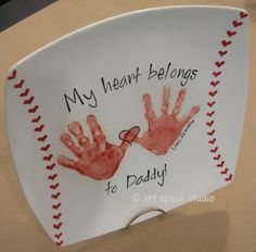 My Heart Belongs to Dad Baseball Plate ~ cute Fathers day gift and I would make the hands green for the As