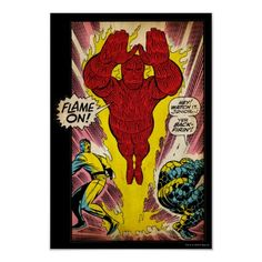 The Human Torch retro slide art poster.